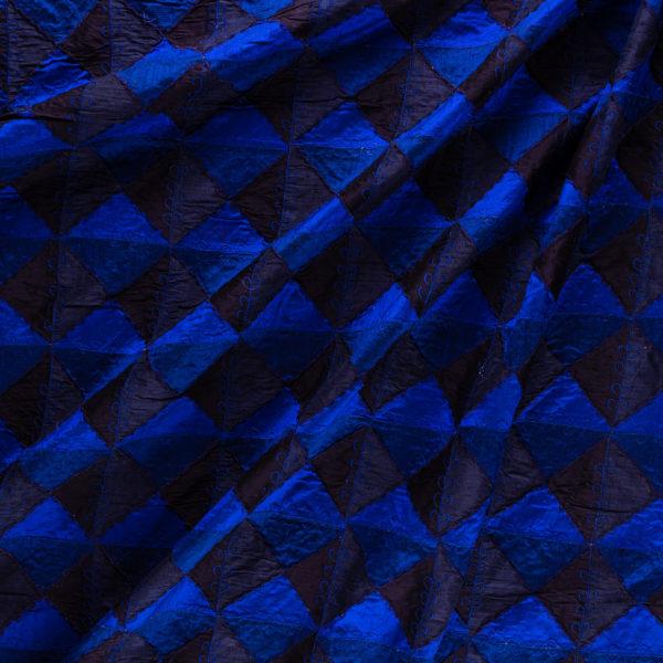 Dupion Patchwork Königsblau-Schwarz 1