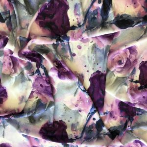 Stretch Satin – Midnight Rose Garden